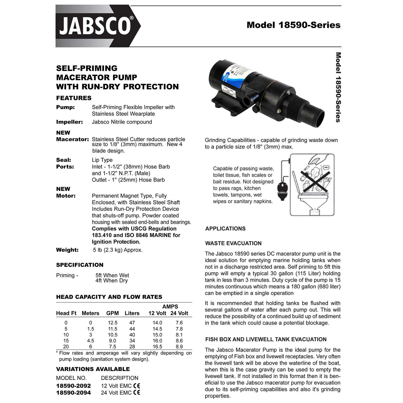 jabsco 18590 2092 macerator waste pump 12v dc marine self priming 1 rh fredwarner1 net Jabsco 18590 Parts Diagram Holding Tank Macerator Pump