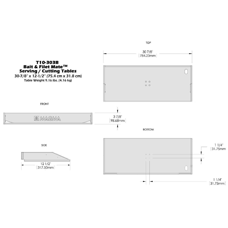 "Magma Bait//Filet Mate Serving//Cutting Table T10-303B White//Black 31/"""