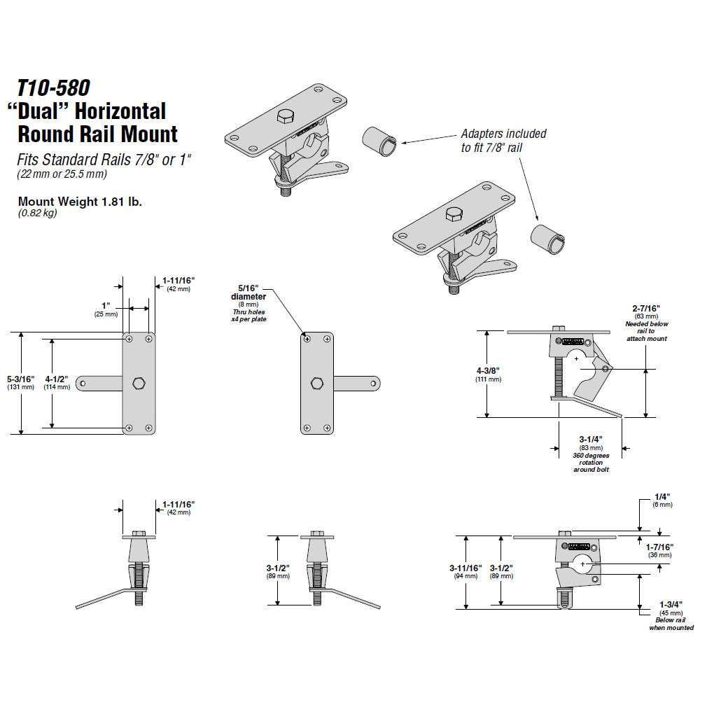 Magma Grills T10-580 Dual Horizontal Round Boat Rail Mount