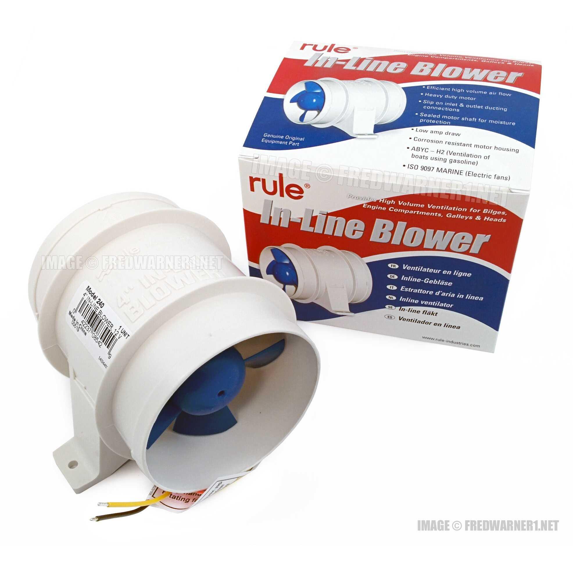 "Rule 240 In-Line Bilge Blower For 4/"" Ducting"