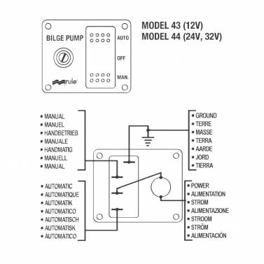 Rule 43 Marine 3-Way Lighted Switch 12V DC for Boat Bilge Pumps Xylem Bilge Float Switch Wiring Diagram on
